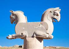 Two-headed Griffin statue in Persepolis Royalty Free Stock Image