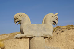 Two-headed Griffin statue in Persepolis, Iran. Stock Images