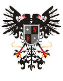 Two-headed heraldic eagle with a shield Stock Photography