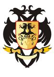 Two-headed heraldic eagle with a shield Royalty Free Stock Image
