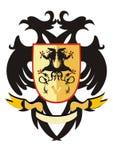 Two-headed heraldischer Adler mit einem Schild Lizenzfreies Stockbild