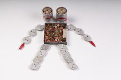 Two-Headed robot. Assembled from old radio parts Royalty Free Stock Photo