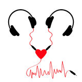 Two headphones. Earphones couple Audio splitter adapter heart. Red music wave cord. Love greeting card. White background.  Royalty Free Stock Images