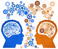 Two Heads Better. Illustration of two different thought processes combining as one Royalty Free Stock Photography