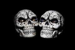 Two Heads are Better Than One. Two fake skulls are isolated on a black background Royalty Free Stock Photos