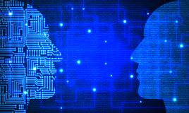 Two heads with circuit and blue code pattern facing each other Royalty Free Stock Images