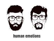 Two heads with emotion Stock Images