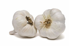 Two heads of garlic. Stock Photos