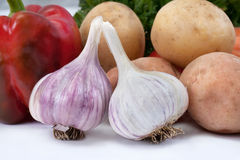 Two heads of garlic Stock Photo