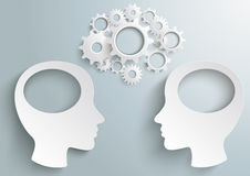 Two Heads With Hole Gears PiAd. Two white heads with gears the grey background. Eps 10 file royalty free illustration