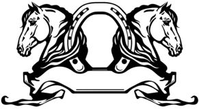Free Two Heads Of Horses And Horseshoe Royalty Free Stock Images - 155818319