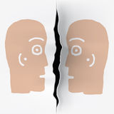 Two heads  separated. Illustration of  two heads on a sheet  divided Royalty Free Stock Image