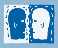 Two heads (vector) Stock Photos