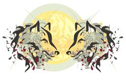 Two heads of a wolf and sun Royalty Free Stock Photography