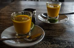 Two healthy jamu shots on Bali, Indonesia Stock Photos