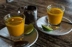 Two healthy jamu shots in close-up.  stock photos