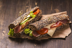 Two healthy sandwiches with ham, cheese and vegetables Stock Photos