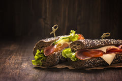 Two healthy sandwiches with ham, cheese and vegetables Royalty Free Stock Photo