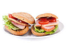 Two healthy sandwiches on white plate Royalty Free Stock Photos