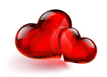 Two Heart. Two Glass Heart: red stock illustration