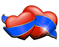 Two heart with blue ribbon Royalty Free Stock Photo