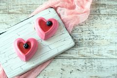 Cakes in the form of heart on the day of the holy Valentine Stock Photography
