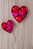 Two heart with candies Royalty Free Stock Photography