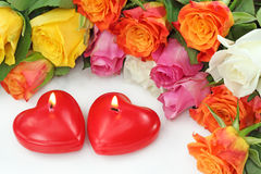 Two heart candles Royalty Free Stock Photography