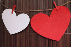 Two heart card for Valentine or wedding . Royalty Free Stock Image