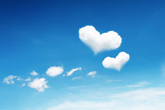 two heart clouds on blue sky Royalty Free Stock Photos