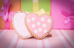 Two heart cookies and presents Stock Photo
