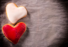 Two heart cookies Stock Images
