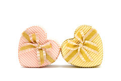 Two heart gift box cuddling together Royalty Free Stock Images