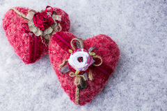 Two heart handmade on the snow Royalty Free Stock Photo