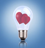 Two heart in light bulb Royalty Free Stock Photography
