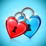 Two Heart Locks Stock Photography