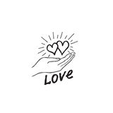 Two heart in love in your hand. Strong family icon. Save love Royalty Free Stock Photo