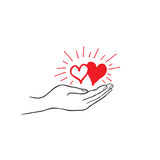 Two heart in love in your hand. Strong family icon. Save love sign Stock Photo