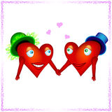 Two heart lovers holding hands. Red hearts like man and woman looks to each other with love for your design Stock Photos