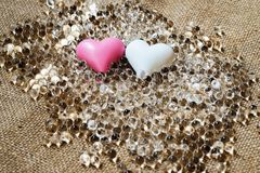 Two heart on many transparent pearl Royalty Free Stock Image