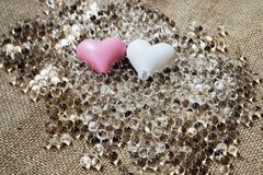 Two heart and many transparent pearl Royalty Free Stock Photography
