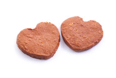 Two heart pattern chocolate cookies Stock Photos