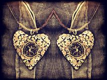 Two heart pendant Stock Photos