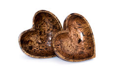 Two heart plates. Couple of thai wooden handicraft heart plates made from mango tree Stock Photo