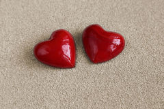 Two heart in the sand Royalty Free Stock Photo