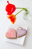 Two heart shape cookies on white plate. Royalty Free Stock Images
