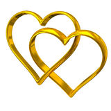 Two heart shape golden rings. On white background Royalty Free Stock Images