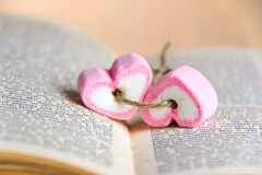 Two heart shape marshmallow on book stock photos