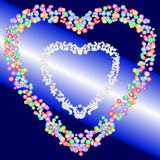 Two heart shape patterns of colorful bubbles on gradient blue and light beam background. Vector illustration. The image is useful as greeting / invitation card Royalty Free Stock Photo