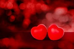 Two Heart shape on red bokeh background, abstract with glitter glowing, February 14 Valentine day.